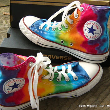 Hand Dyed Rainbow Converse Hi Top Sneakers  men 6.5 / women 8.5