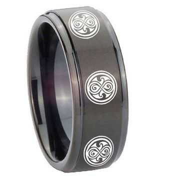 8MM Step Edges Black Multiple Doctor Who Tungsten Carbide Laser Engraved Ring