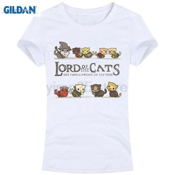 GILDAN The Furrlowship of the Ring Wowomen Tops Tees T Shirts funny Novelty Parody Lord Of The Rings Lotr Cats sleeve