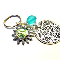 Abalone Shell Sun Keychain, Aqua Blue Sea Glass Key Chain, Celestial Car Accessories, Love Beyond the Moon & Stars Key Ring, Beach Keychain