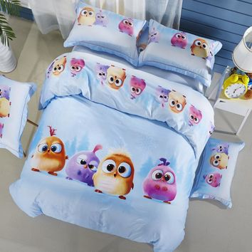 Svetanya Pure Cotton Bedlinen Birds Print Bedding Sets Duvet Cover Set Full Queen King Size for Kids Teens Adults