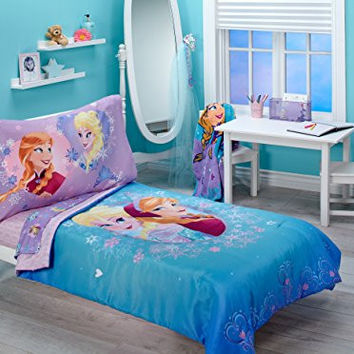 Disney Frozen Magical Sisters 4 Piece Toddler Bedding Set, Pink/Purple/Blue