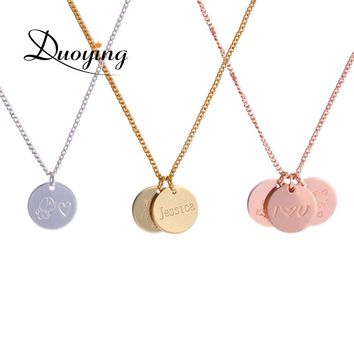 Duoying 12*12 mm Disc Necklaces Custom Baby Name Necklace Personalized Gold Coin Pendants Necklaces Beauty Mother Gifts for Etsy
