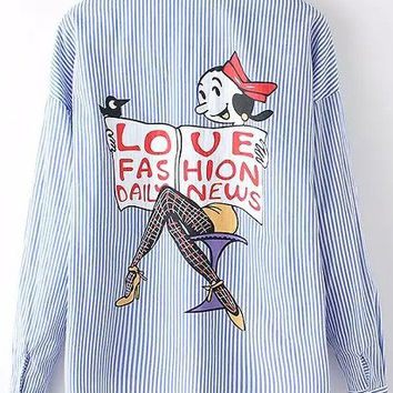 Blue Long Sleeve Pinstripe Cartoon Print Blouse