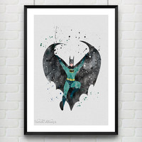 Batman Watercolor Poster Print, DC Comics Marvel Superhero, Boys Room Wall Art, Home Decor, Not Framed, Buy 2 Get 1 Free! [No. 66]