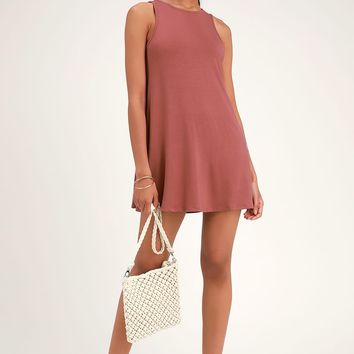Camila Washed Rose Sleeveless Swing Dress
