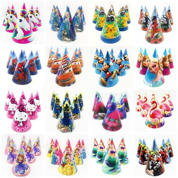 6pc Frozen Elsa And Anna Lightning Mcqueen Hello Kitty Sofia Princesses Minions Troll Moana Caps Party Supplies Hat Decoration