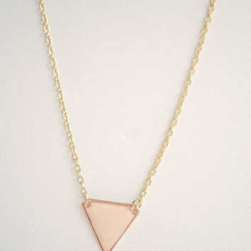 Triangle Necklace - Light Peach Jewelry - Anytime Necklaces - Champagne Jewellery - Minimalist Necklace - Geometric Necklaces - Gift for Her