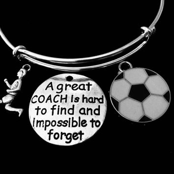 Soccer Coach Jewelry Girl Playing Soccer Adjustable Bracelet Silver Expandable Charm Bangle One Size Fits All Gift A Great Coach Is Hard to Find and Impossible to Forget
