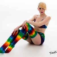 "Sexy Tie dye ""Rainbow Love Potion"" thigh high cotton socks, Music festival, cosplay, rave wear, hippy clothes"