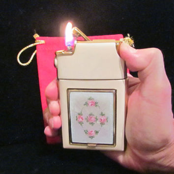 Vintage Marathon Cigarette Case Lighter Compact Guilloche Enamel Working Excellent Condition