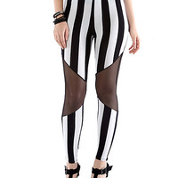 Sheer Cutout Vertical Stripe Leggings - Rainbow