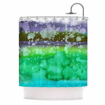 "Ebi Emporium ""California Surf 3"" Green Teal Shower Curtain"
