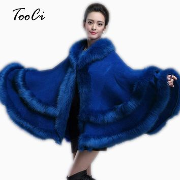 Spring Winter New Womens Fur Coat Double Decked Faux Fox Surround Fur Shawl Fashion Warm Poncho Cape Knitted Cardigan