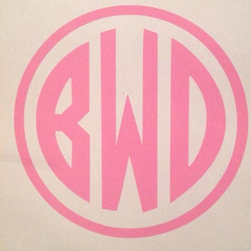 Monogrammed circle car decal by bbsmonograms on etsy