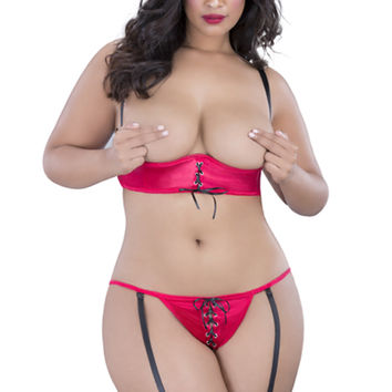Red Plus Size Shelf Bra 2Pc. Garter Belt Sexy Undergarment