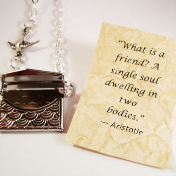 Letter Locket Necklace - Envelope Locket Necklace - Friendship Necklace - Bird Necklace - Personalized Necklace - Secret Message - Aristotle