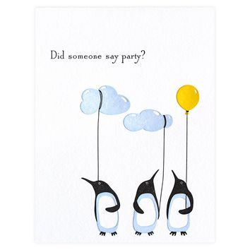 Birthday Party Penguin Card
