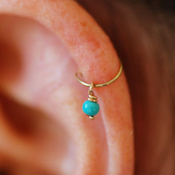 Gold hoop, cartilage earring, helix earring, turquoise hoop, tiny cartilage earring