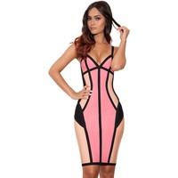 Pinkish Strappy Cut Bandage Dress LAVELIQ