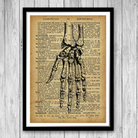 Hand Anatomy Print, Medical Poster, Dictionary art print, Gift for a medical student or for Orthopedic surgeon gift, Anatomy Print (HA03)
