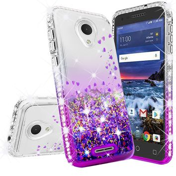Alcatel Verso Case, U5 Case Liquid Glitter Phone Case Waterfall Floating Quicksand Bling Sparkle Cute Protective Girls Women Cover for Verso/U5 - Purple