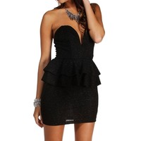 Black Plunging Glitter Peplum Dress