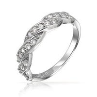 Bling Jewelry Sterling Silver Pave CZ Twist Infinity Band Ring