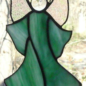 Stained Glass Angel Aqua Lime Crystal Ice Suncatcher