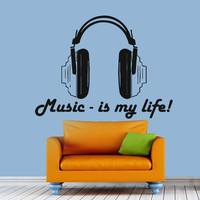 Wall Decals Hadphones Music Is My Life Decal Vinyl Sticker Home Decor Bedroom Interior Window Decals Living Room Art Murals Chu1419
