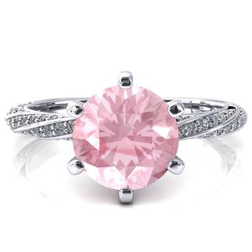 Elysia Round Pink Sapphire 6 Prong 3/4 Eternity Diamond Accent  Ring