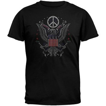 In Rock We Trust Eagle Guitar Peace Sign T-Shirt