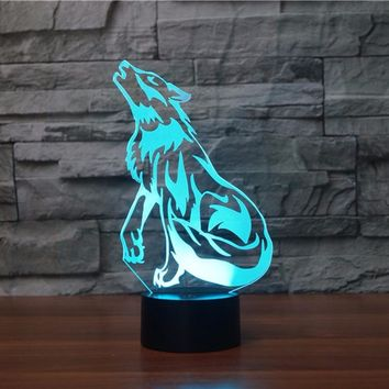 Howling Wolf 3D LED Night Light Lamp