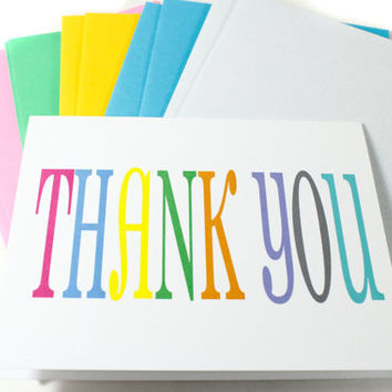 Colorful Thank You Card Boxed Set of 12 Cards.  Colorful Coordinating Envelopes in Clear Box with Baker's Twine.