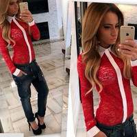 Red Contrast Trim  Sheer Lace Lapel Spliced Top