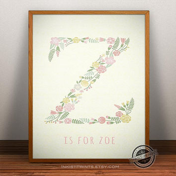 Custom Baby Name Zoe Art- Letter Z Monogram Nursery Art, Initial Art Print, Alphabet Z, Baby boy, Initial, Nursery Print, Wall Decor