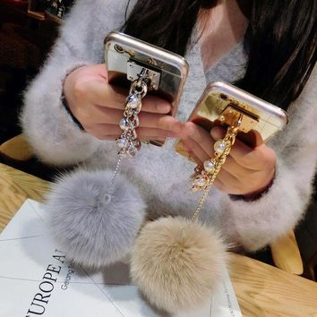 Ultra Thin Soft TPU Pearl Chain Tassel and Fur Ball Mirror Mobile Phone Case For iPhone 7 6 6S Plus