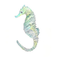 watercolor seahorse painting, seahorse art, sea, ocean, beach, - 8X10 print