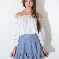 Stripe Ruffled Flared Skirt