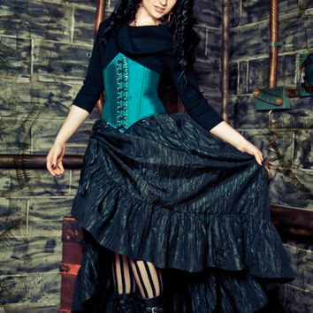 Steampunk Victorian Skirt - Pirate Renissance - Black Crinkle Gathered Taffeta with Ruffle - Custom to Order