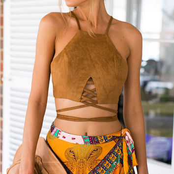 Women's Camel Faux Suede Cut Out Multi Strap Tied Crop Top