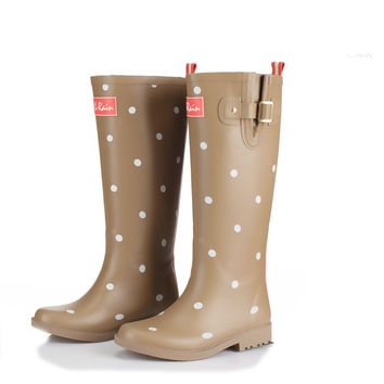 Brand New 2017 Polka Dot Rubber Rain Boots Women Fashion Buckle Flats Rainboots Waterproof Water Shoes Wellies Boots  TS11