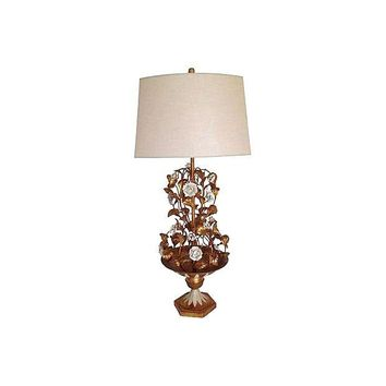Pre-owned 1950s Italian Tole Urn Lamp with Shade and Finial
