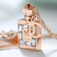 "Hot Sale ""Chanel"" Fashion Women Elegant Rose Golden Perfume Bottles Logo Necklace+Best Gift I12001-1"