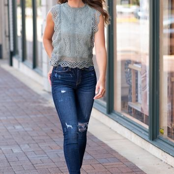 Cue The Charm Lace Ruffle Top : Sage