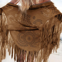 Summer Style Fashion Design Faux Suede Shawl Hollow Out Floral Cut Out Asymmetric Tassel Kimono Capes