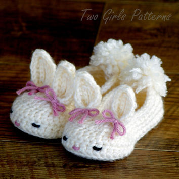 Crochet patterns baby booties Bunny House Slippers  - Pattern number 204 Instant Download