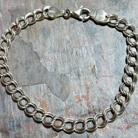 7.25 Inch Chain Bracelet Double Curb Chain Charm Bracelet Starter Chain 925 Italy Italian Silver 6 mm Wide Shiny Silver Durable Chain Clasp