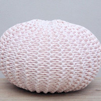 Knitted Pouf, Round Floor Pillow, T-Shirt Yarn Zpagetti, Couch Pillow, Housewares, Meditation Pillow, Pink