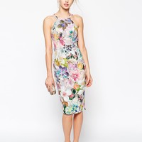 ASOS Digital Print Pencil Drape Back Dress